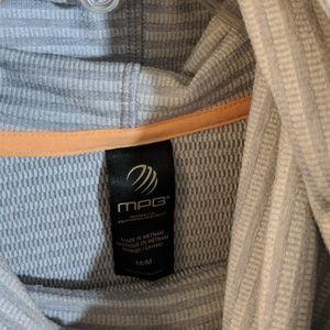 MPG Tops - MPG GREY STRIPED SWEATSHIRT WITH ORANGE TIE